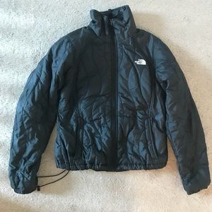 Women's Black Puffy North Face Shell.